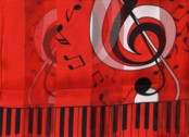 CLEF NOTE AND KEYBOARD  SCARF  RED